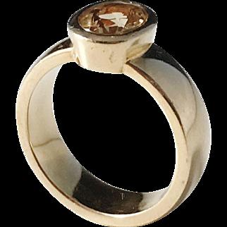 David W Harper, Stockholm Vintage Chunky 18k Gold Citrine Ring. 10.5gram. Size 7