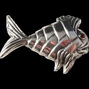 Vintage Mexico Sterling Silver Fish Piranha ? Brooch