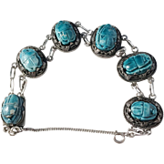 Alexandria, Egypt, Swedish import year 1938 Solid Silver Scarab Bracelet