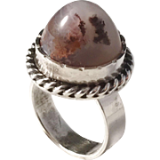Iceland, Modernist 1970s Solid SIlver Moss Agate Ring. Rare.