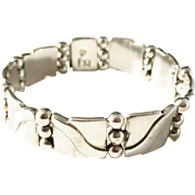 Hector Aguilar (1905-1986) Taxco Mexico Sterling 940 Silver Mid Century Bracelet.