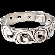 Mexico Mid Century Sterling Silver Bracelet. Maker's Mark. Excellent.