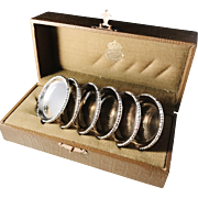 Royal Goldsmith CG Hallberg Stockholm. 6 Solid Silver Coasters 1923-1949. In original wooden box.
