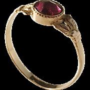 Georgian 18k Gold Foiled Back Paste Stone Ring. City of Norrköping, Sweden c 1810