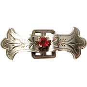 A Johansson, Sweden year 1896, Victorian Solid Silver Paste Stone Small Pin Brooch.