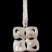 Finn Feelings, Finland Modernist 1970s Sterling Silver Rock Crystal Pendant w 830 Silver Chain.