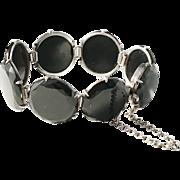 Hedblom, Sweden year 1886 Solid Silver Jet Mourning Bracelet. Excellent.