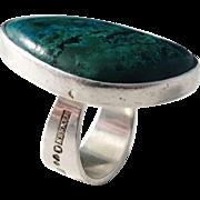 Hansen, Stockholm year 1965 Modernist Solid Silver Eilat Stone Ring.