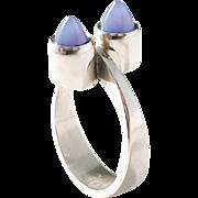 Much Sought After Elis Kauppi for Kupitaan Kulta, Finland Modernist Sterling Silver Chalcedony Ring