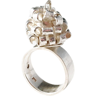 Claes E Giertta, Stockholm year 1968 Modernist Solid Silver Rock Crystal Unique Ring.