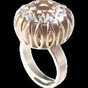 Bengt Hallberg, Sweden year 1976 Sterling Silver Large Rock Crystal Modernist Ring.