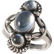 Early Georg Jensen, Denmark year 1933-44, Design no 15 Sterling Silver Cabochon Cut Moonstone Ring. Excellent.