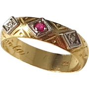 Sweden year 1899 late Victorian 23k Gold Diamond and Ruby Ring.