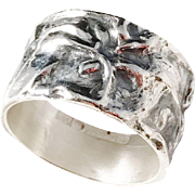Bengt O Lilja, Finland year 1971 Modernist Organic Solid Silver Unisex Ring. Excellent.