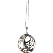 Sten & Laine, Finland  year 1973 Modernist Spider Web Design Sterling Silver Pendant Necklace.