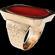 H & Wancke, Stockholm year 1810. Georgian 18k Gold Carnelian Ring. 12.9gram