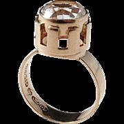 Nils Westerback, Finland year 1967 Modernist 14k Gold Rock Crystal Ring.