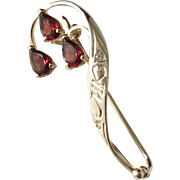 Edwardian Art Nouveau 14k Gold Diamond Garnet Brooch. Excellent.