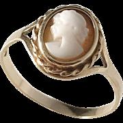 Bronsil, Sweden 1970 18k Gold Cameo Ring.