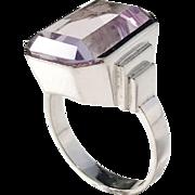 Albrechtsson, Sweden year 1964 18k White Gold Kunzite Modernist Ring. 10.1 gram