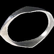 Maker KAE, Sterling Silver Modernist Hand Hammered Massive 165gram Bangle Bracelet.
