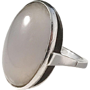 Maker RS, France Mid Century Modern Sterling Silver Large Moonstone Ring. Excellent.