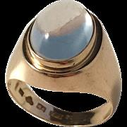 G Dahlgren, Sweden year 1956 Mid Century Modern 18k Gold Moonstone Ring. Excellent.