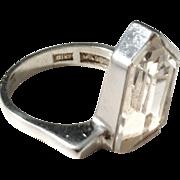Turku, Finland year 1975 Solid Silver Rock Crystal Modernist Ring.
