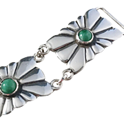 Gussi, Sweden year 1955, Mid Century Solid Silver Agate Panel Bracelet.