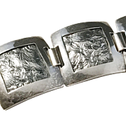 South East Asia Solid Silver Organic Motif Panel Bracelet. 1.4oz. c 1950s