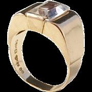 Hallberg, Sweden year 1952 Mid Century 18k Gold Rock Crystal Ring.