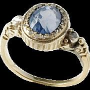 Victorian or Older 18k Gold Rose Cut Diamond  Sapphire 18k Gold Ring.