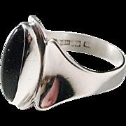 Martti Viikinniemi (1946-74) Finland year 1960 Solid Silver Black Goldstone Ring.