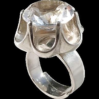 Bengt Hallberg, Sweden year 1973 Bold Modernist Sterling Silver Rock Crystal Ring.