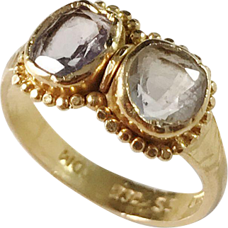 India, Vintage 23k Gold Aquamarine Ring. Face migh be older.