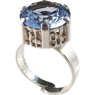 KE Palmberg for ALTON year 1973 Modernist Sterling Silver Color Dyed Ice Blue Rock Crystal Ring.