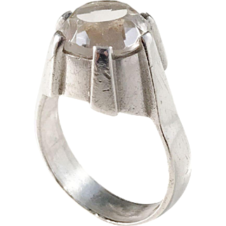 Bengt Hallberg, Sweden year 1962 Modernist Solid Silver Rock Crystal Ring.