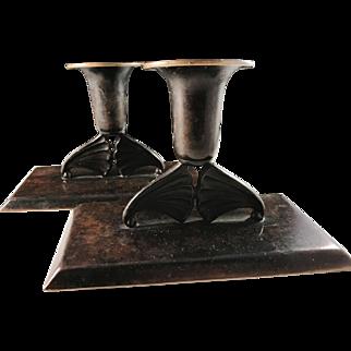 Holger Fridericias, Denmark 1930s Art Deco Bronze Candlesticks.