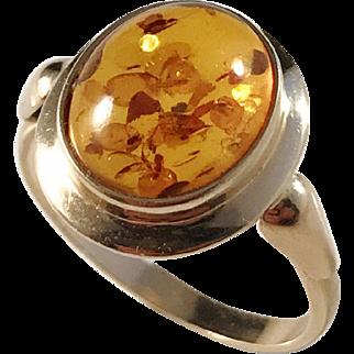 Gdansk, Poland Vintage 14k Gold Baltic Amber Ring.
