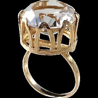 Swedish Import 1960s Modernist 18k Gold Large Rock Crystal Ring.