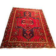 "Semi-Antique Persian Hamadan oriental rug 4'5"" x 6'3"" , Handmade of wool on cotton  foundation Free shipping & appraisal"