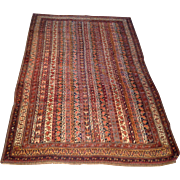 "1910's Antique Persian Afshar Oriental Rug, Handmade of Wool, 4'0"" x 6'2"" Free shipping & appraisal"