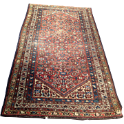 "1920's Persian Hamadan oriental  rug 3'7"" x 6'5"" Handmade of wool on cotton foundation, Free shipping & appraisal"