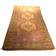 "Antique Turkish rug -handmade of wool on wool foundation, 3'10"" x 7'7"" Free shipping & appraisal"