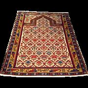 "1930's Russian Dagestan Shirvan Oriental  Rug , handmade of wool , 3' 11"" x 5' 4"" Free shipping & appraisal"
