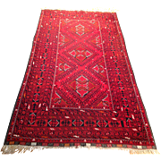 "Afghan Oriental  Rug-handmade of wool on wool foundation- 3' 7"" x 7' 1"" Free shipping & appraisal"
