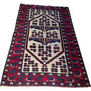 "1960's Persian Balouch Oriental Rug-handmade of wool- 3' 9"" x 5' 6"" Free shipping & appraisal"