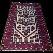 "1960's Persian Balouch Oriental Rug-handmade of wool- 3' 9"" x 5' 6"" Free shipping & appraisal"