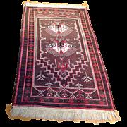 "1960's Persian Balouch rug 2' 9"" x 5' 10"" Free shipping & appraisal"