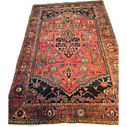 "Beautiful Fine Antique Persian SERAPI Oriental Rug in Rare Size-4'7"" X 7'4"" ca. 1890 Free Shipping & appraisal"